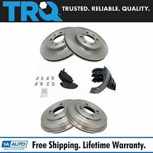 Front Rear Posi Metallic Disc Brake Pads Rotors Shoes Drum Kit Set For Civic
