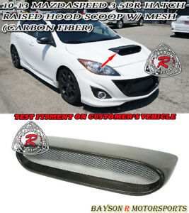 Raised Hood Scoop carbon W Mesh Fits 10 13 Mazdaspeed 3 5dr hatchback