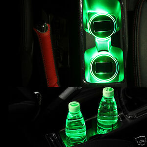 Solar Charge Car Auto Led Cup Holder Acrylic Bottom Glow Pad Mat Cover Decor X1