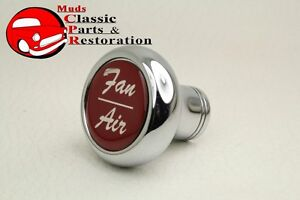 Deluxe Fan Air Cab Dash Knob Truck Hot Rat Street Rod Custom Rig Glossy Red