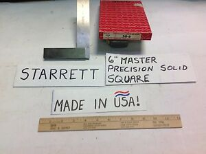 20 6 Starrett Usa 6 Master Precision Solid Square very Good Used Cheap