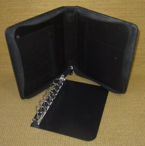 Classic 1 25 Removable Rings Black Leather Franklin Covey Zip Planner binder
