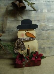 Primitive Snowman Wood Candle Box Christmas Poinsettia Window Box Timer Tapers