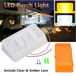 24 Led Porch Light Rectangle Clear Amber Lens Camper Trailer Rv White Exterior