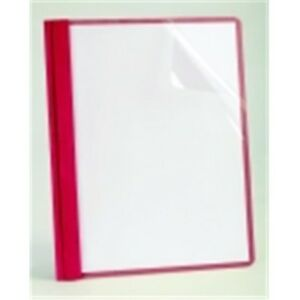 Oxford Clear Front Report Cover With 3 Hole Fastener Insert Red Pack Of 25