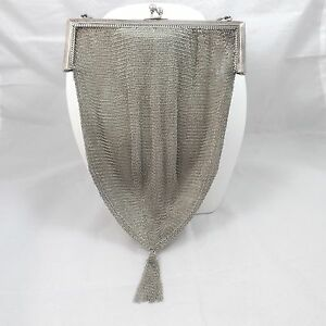 Deco Whiting Davis Sterling Silver Mesh Handbag Purse Evening Bag 121 4 Gr