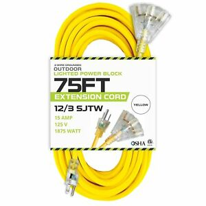 75 Foot Lighted Outdoor Extension Cord With 3 Electrical Power Outlets 12 3