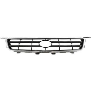 Grille For 2000 2001 Toyota Camry Chrome Shell W Black Insert Plastic