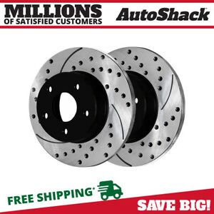 Rear Drilled Slotted Disc Brake Rotors Pair 2 For 1999 2004 Jeep Grand Cherokee