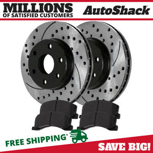 Front Drilled Slotted Brake Rotors Metallic Pads Kit For 10 15 Ford F 150 6 Stud