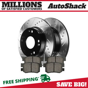 Rear Drilled Slotted Rotors And Metallic Pads For 2013 2015 Ilx 2006 2015 Civic