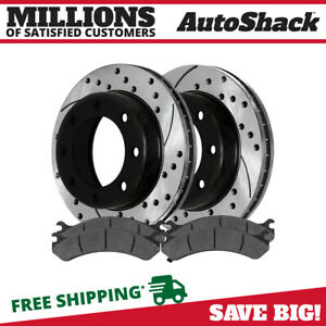 Rear Drilled Slotted Rotors And Metallic Pads For 2001 2010 Silverado 2500 Hd