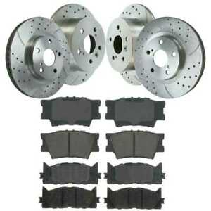 Front Rear 4 Drill Slotted Brake Rotors 8 Ceramic Pad For 07 11 Toyota Camry