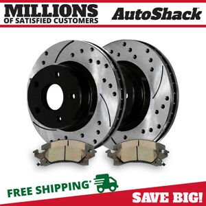 Front Drilled Slotted Rotors And Metallic Pads For 1992 2005 Chevrolet Cavalier