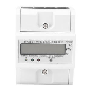 Three phase Four wire Din rail Kilowatt Hour Kwh Energy Meter 50hz 3x20 80a Dh