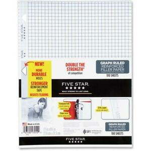Five Star Mea17012 Reinforced Graph Filler Paper White