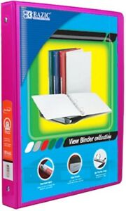 5 Inch Fuschia 3 ring View Binder With 2 pockets Pack Of 12