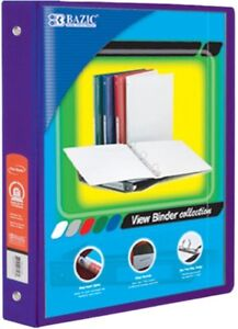 1 Inch Purple 3 ring View Binder With 2 pockets Pack Of 12