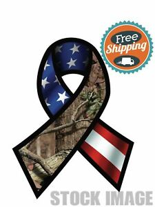Mossyoak Support Our Troops Flag Ribbon Window Sticker Decal