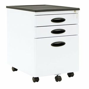 Calico Designs Home Office Furniture Storage 3 Drawer Mobile File Cabinet White