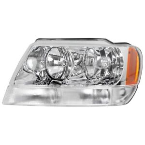 Headlight For 1999 2004 Jeep Grand Cherokee Limited Left Halogen Chrome Interior