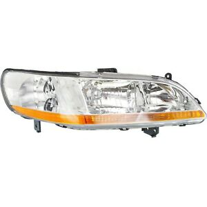 Headlight For 98 99 2000 Honda Accord Lx Dx Ex Models Right Clear Lens