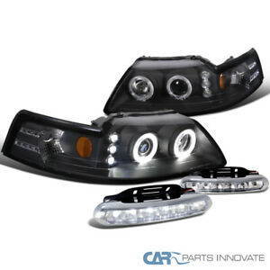 99 04 Ford Mustang Black Halo Projector Headlights clear Led Fog Bumper Lights