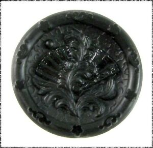 Small Victorian Black Glass Button Folding Fan Backmarked