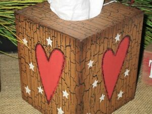 Country Primitive Heart Tissue Box Cover Farmhouse Shelf Desk Decor Crackled