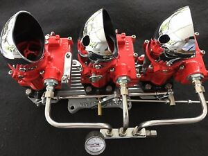 Vintage Speed Rochester 2g 3 X 2 Carb Set In Red Tri Power Hot Rod