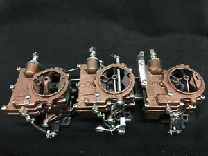 Vintage Speed Rochester 2g 3 X 2 Carb Set In Copper Vein Tri Power Hot Rod