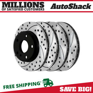 Front Rear Drilled Slotted Brake Rotors For 2001 2005 330i 330xi 2001 2006 330ci