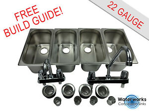 4 Compartment Concession Sink Portable Food Truck Trailer Hand Washing W faucets