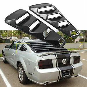 Carbon Fiber Pattern Side Window Scoop Louver Cover For 2005 2014 Ford Mustang