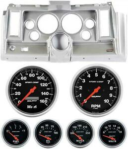 69 Camaro Silver Dash Carrier W Auto Meter Sport Comp Electric 5 Gauges