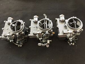 Vintage Speed Rochester 2g 3 X 2 Carb Set In Silver Vein Tri Power Hot Rod