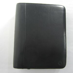 Classic Black Leather Franklin Covey Day Planner Zip Binder 7 Rings Pda Clamp