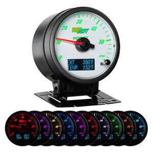 3in1 Glowshift White Face Duramax Diesel Combo Gauge Boost Pyrometer Trans Temp