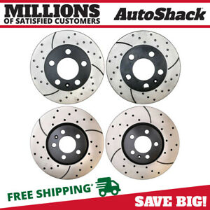 Front Rear Drilled Slotted Disc Brake Rotors Set Of 4 For Vw Golf Jetta Beetle