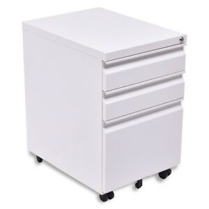 3 Drawers Rolling File Storage Cabinet Black