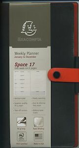 Exacompta Space 17 Planner 2018 Duo Leather Brown Orange Cover Weekly 178 7