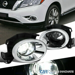 For 13 16 Nissan Pathfinder Clear Smd Led Projector Bumper Fog Lights switch