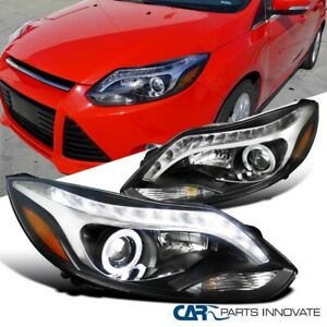 12 14 Ford Focus Black Halo Projector Headlights Head Lamps Led Light Bar Pair