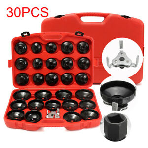 30pcs Cap Type Oil Filter Wrench Set Socket Tools Automotive Removal Kit W case