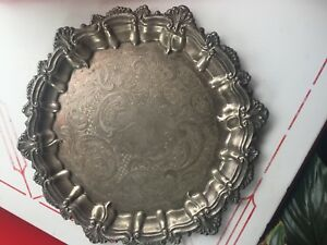 Wm Rogers English Shell Silverplate 13 25 Round Serving Tray Ornate Star Mark