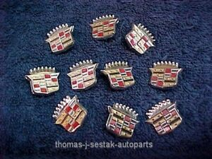 10 Nos Gm Cadillac Crest Emblems Lot Key Fob Belt Buckle Money Clip Plaque