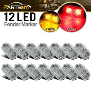 14x 4 amber red Tiger Eye Led Light Trailer Stop Turn Clearance Marker Clear Set