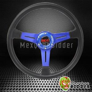 350mm Black Pu Racing Steering Wheel Blue Aluminum Frame W Horn Button