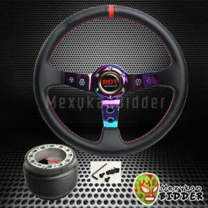 350mm Neo Chrome Deep Dish Pvc Leather Steering Wheel Hub Kit For Civic 92 95 Eg