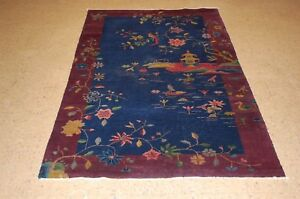 C1910s Antique Art Deco Rare Walter Nichols Chinese Rug 3 10x6 9 Vegetable Dye